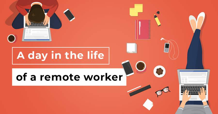 A day in life of a remote worker - illustration